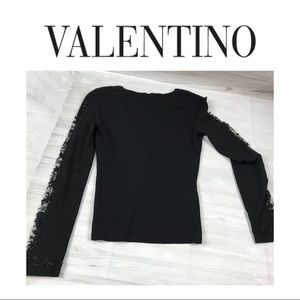 Valentino Gorgeous Beaded Sleeve Sweater Sz S